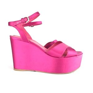 Sergio Rossi Pink Satin High Wedge Heels Sandals
